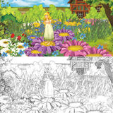 Cartoon farm scene with little elf girl on flowers - with coloring page - image for different fairy tales Royalty Free Stock Photography