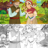Cartoon farm scene with prince and princess on flowers - with coloring page - image for different fairy tales Stock Photos