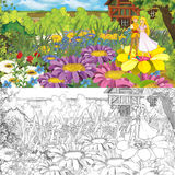 Cartoon farm scene with prince and princess on flowers - with coloring page - image for different fairy tales Stock Image