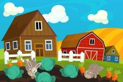 Cartoon farm scene - rabbits on the field Stock Image