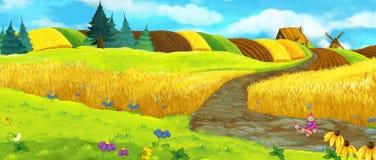 Cartoon farm scene - summer scene vector illustration