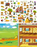 Cartoon farm scene - template for matching elements - cut through - stickers