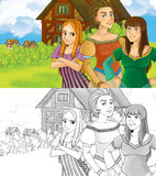 Cartoon farm scene with three women - with coloring page - image for different fairy tales Stock Image