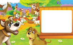 Cartoon farm scene - two dogs are smiling - rooster and hens in the background - space for text Royalty Free Stock Image