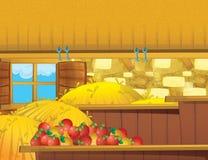 Cartoon farm scene with wooden barn interior - background Stock Photography