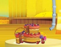 Cartoon farm scene with wooden barn interior - background Stock Image