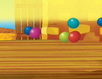 Cartoon farm scene with wooden barn interior - background Royalty Free Stock Images