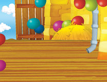 Cartoon farm scene with wooden barn interior - background Stock Photo