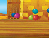 Cartoon farm scene with wooden barn interior - background Stock Images