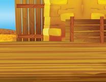 Cartoon farm scene with wooden barn interior - background Royalty Free Stock Photos