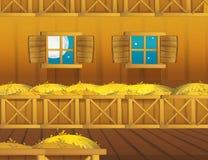 Cartoon farm scene with wooden barn interior - background Stock Photos