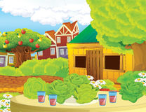 Cartoon farm scene with wooden house - background Stock Image