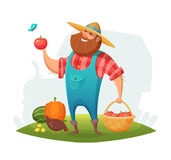 Cartoon farmer character design. rancher holding a basket of vegetables in his hand. Vector illustration. Stock Photo