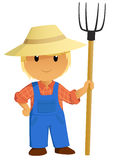Cartoon Farmer Character with pitchfork. Cartoon Farmer Character in hat with pitchfork. Vector Illustration Stock Photo
