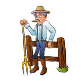Cartoon Farmer Character with pitchfork. Vector illustration Royalty Free Stock Photos