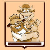 Cartoon farmer with a cow and a pig in a frame Stock Photography