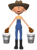 Cartoon farmer. 3d render of a cartoon farmer Royalty Free Stock Images