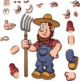 Cartoon farmer with different expressions holding a pitchfork. Vector clip art illustration with simple gradients. Some elements on separate layers stock illustration