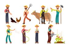 Cartoon farmer and gardeners with tools and farm animals vector characters set. Farmer worker farming, agriculture and cow illustration Royalty Free Stock Photos