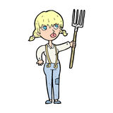 cartoon farmer girl Royalty Free Stock Images