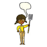Cartoon farmer girl with speech bubble Royalty Free Stock Photos