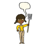 Cartoon farmer girl with speech bubble Stock Images