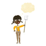 Cartoon farmer girl with thought bubble Royalty Free Stock Images