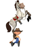 Cartoon farmer with horse Royalty Free Stock Photos