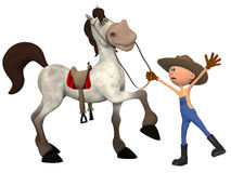 Cartoon farmer with horse Royalty Free Stock Images