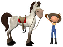 Cartoon farmer with horse Royalty Free Stock Photography