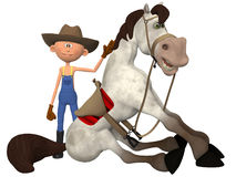 Cartoon farmer with horse Stock Images