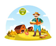 Cartoon farmer man holding eggs and hen Royalty Free Stock Images