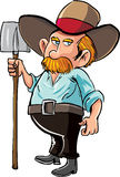 Cartoon farmer with moustache and hat. Isolated Stock Photography