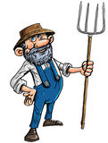 Cartoon farmer with a pitchfork. Vector illustration of a cute stereotypical cartoon farmer in a hat and dungarees holding a pitchfork isolated on white Stock Photo
