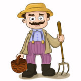 Cartoon farmer with pitchfork and basket. Vector illustration of cartoon farmer with pitchfork and basket on isolated white background. Character design Stock Image