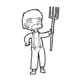 Cartoon farmer with pitchfork. Black and White Line cartoon in retro style.  Vector available Royalty Free Stock Photo