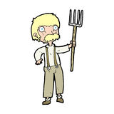 Cartoon farmer with pitchfork. Hand drawn cartoon illustration in retro style.  Vector available Stock Photos