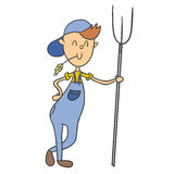 Cartoon farmer. With pitchfork.  illustration Royalty Free Stock Photos