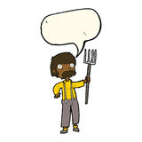 Cartoon farmer with pitchfork with speech bubble Stock Photos