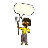 Cartoon farmer with pitchfork with speech bubble Royalty Free Stock Photography