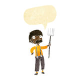 Cartoon farmer with pitchfork with speech bubble Royalty Free Stock Image