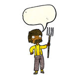 Cartoon farmer with pitchfork with speech bubble Stock Image