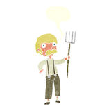 Cartoon farmer with pitchfork with speech bubble Royalty Free Stock Photos