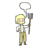Cartoon farmer with pitchfork with speech bubble Royalty Free Stock Photo
