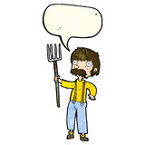Cartoon farmer with pitchfork with speech bubble Stock Photo