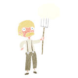 Cartoon farmer with pitchfork with thought bubble Stock Photography