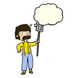 Cartoon farmer with pitchfork with thought bubble Royalty Free Stock Photo
