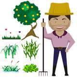 Cartoon farmer with plant and orange tree. Cartoon design farmer man with plant and orange tree Stock Image