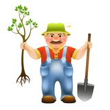 Cartoon farmer with shovel and with seedling tree. Farmer with shovel and with seedling tree with leaves and roots vector illustration