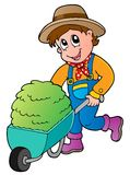 Cartoon farmer with small hay cart Royalty Free Stock Photo